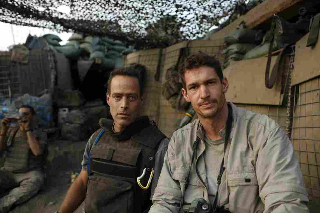 Journalists Sebastian Junger (left) and Tim Hetherington at the Restrepo outpost, where they gathered footage for two documentaries. Hetherington was killed while on assignment in Libya in 2011.
