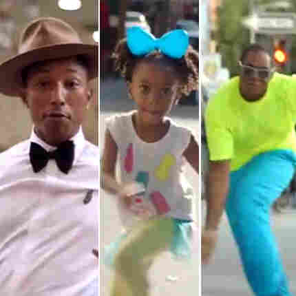 "A variety of dancers from Pharrell Williams' video for the song ""Happy."""