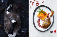Left, Canada goose. Right, goose leg confit with autumnberry sauce and sweet potato mash.