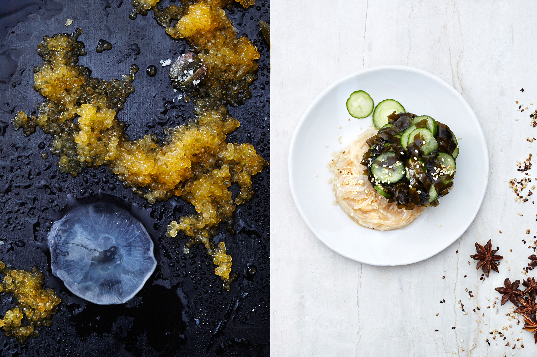 Left, jellyfish. Right, peanut butter, jellyfish, wakame and salted cucumber salad.