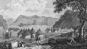 "Scottish explorer Mungo Park was among the first Europeans to view the Mandinka tribe's masked dancers who were known as Maamajomboo. He translated the word as ""mumbo jumbo.' This 1797 illustration from Park's book, ""Travels In The Interior Districts of Africa"" shows a view of Kamalia village in Mandinka country."