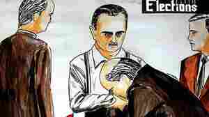 A mock election poster depicts Syrian President Bashar Assad as Mafia boss Don Corleone, with token candidates kissing his hand.