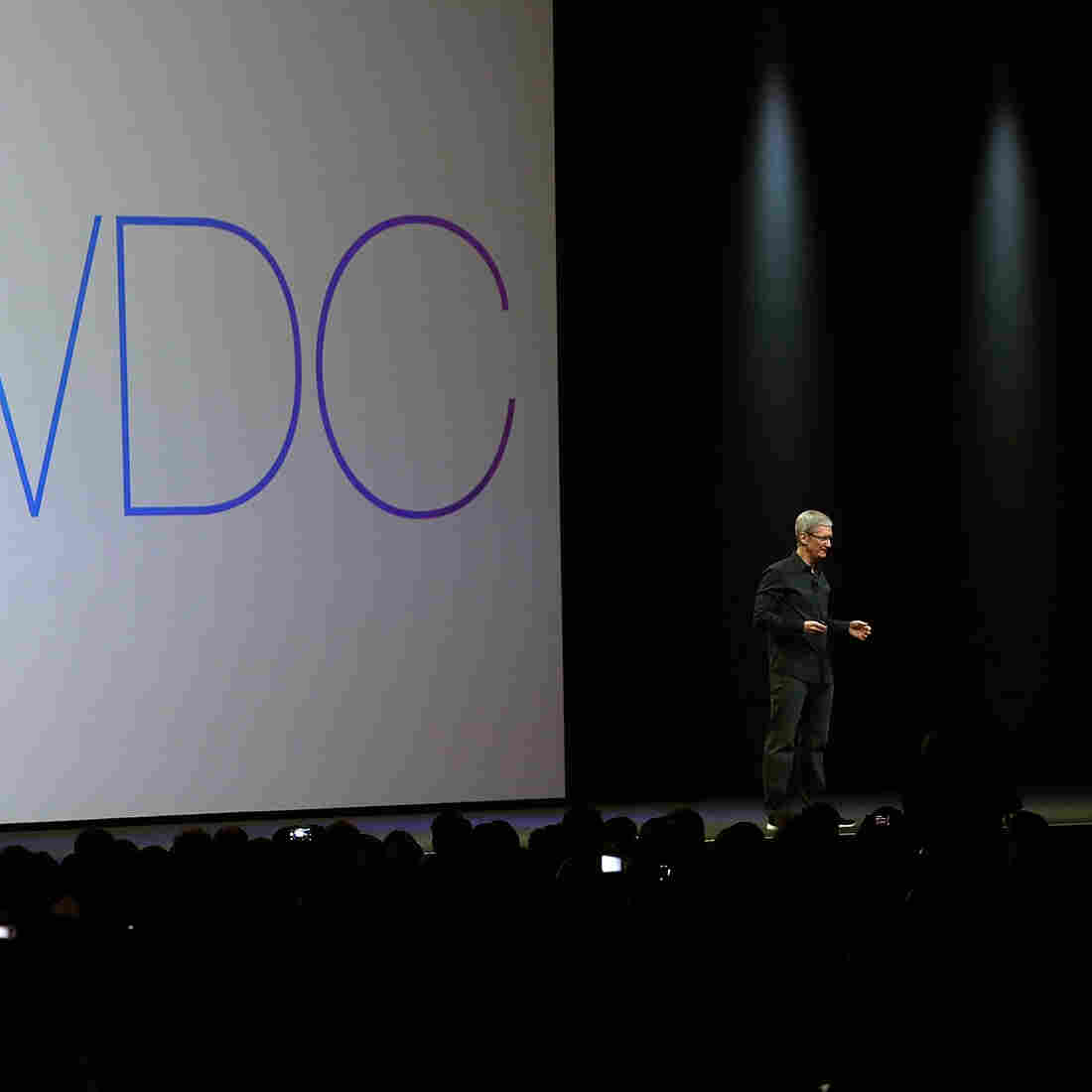 Apple CEO Tim Cook speaks during the Apple Worldwide Developers Conference in San Francisco.