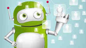 Cartoon character green robot.
