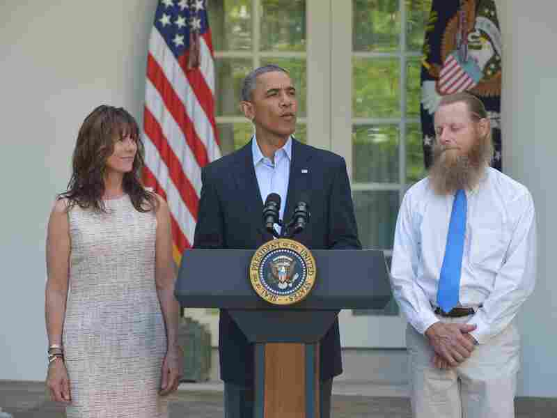 President Obama speaks in the White House Rose Garden Saturday with Bob and Jani Bergdahl, the parents of freed American soldier Bowe Bergdahl.