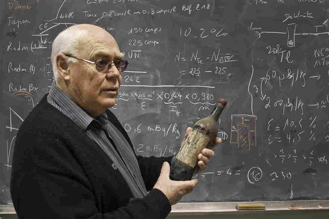"""French physicist Philippe Hubert uses gamma rays to detect radioactivity in wine. """"In the wine is the story of the Atomic Age,"""" he says."""