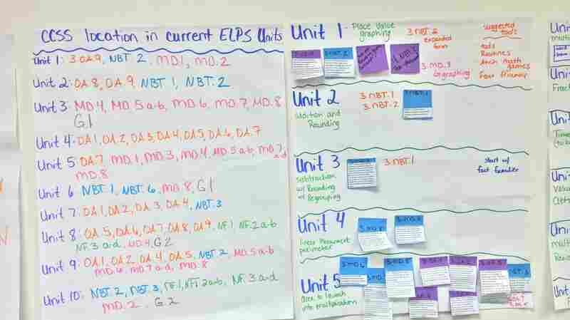 Teachers in East Lansing, Mich., used the walls of a classroom to map out the Core standards and how they correspond with the current East Lansing curriculum.