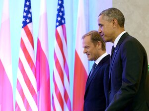 President Obama and Polish Prime Minister Donald Tusk at a meeting in Warsaw, Poland,
