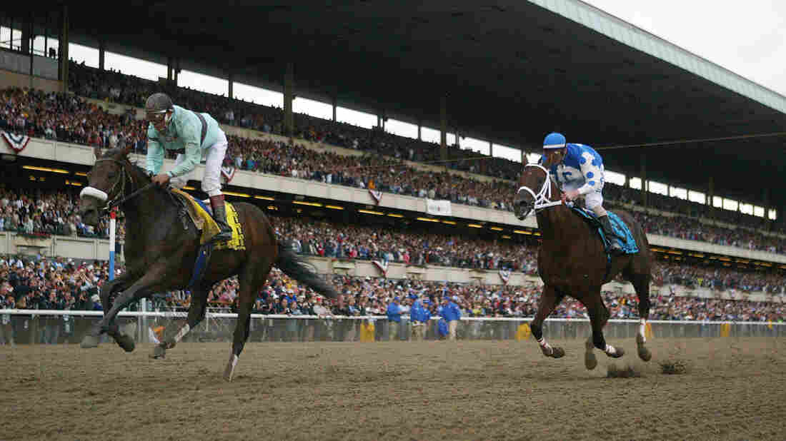 Birdstone (right), ridden by Edgar Prado, upsets horse Smarty Jones to win the Belmont Stakes in 2004. Smarty Jones was one of a dozen horses since 1978 to win the first two legs of the Triple Crown, only to lose at the Belmont.