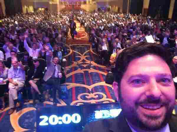 "Gimma a ""D!"" The Health Datapalooza crowd went wild for this selfie by Bryan Sivak, chief technology officer at Health and Human Services."