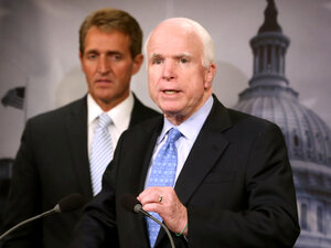 Sen. John McCain discussed the Veterans Choice Act at a news conference on Tuesday, with fellow Arizona Repu