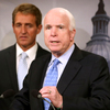 Sen. John McCain discussed the Veterans Choice Act at a news conference on Tuesday, with fellow Arizona Republican Sen. Jeff Flake.