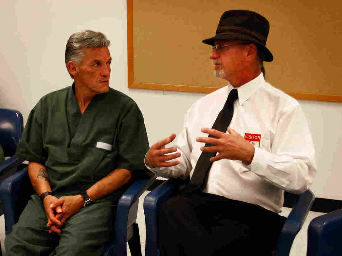 Greg Wells (right) talks to fellow member of the  Long Term Offenders Program during a group support meeting at Sterling Prison.