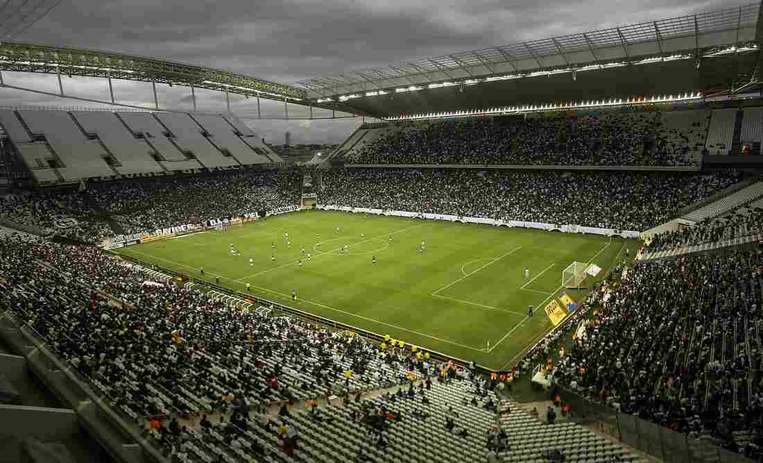 """Corinthians Arena in Sao Paulo, Brazil, holds a test match Sunday ahead of the World Cup. One fan who attended said the country """"didn't deliver"""" and isn't ready for the event."""