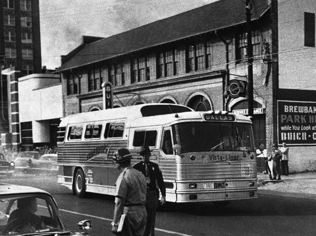 When the Freedom Riders arrived in Montgomery, they were greeted by an armed, racist mob, while the local police were conspicuously absent.