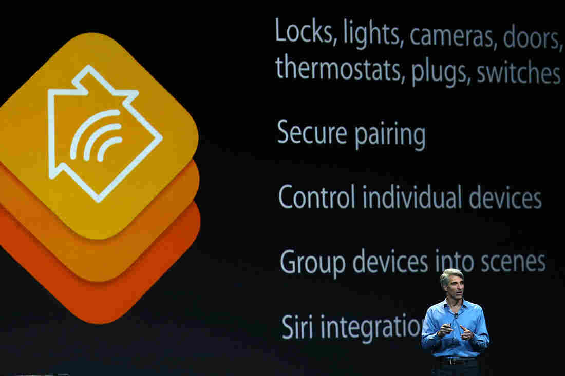 Apple's Craig Federighi introduces the company's Home Kit platform during the Worldwide Developers Conference in San Francisco.