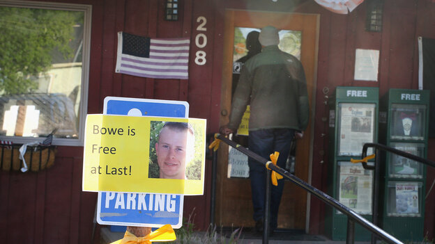 Hailey, Idaho: A sign announcing the release of Sgt. Bowe Bergdahl outside Zaney's coffee shop, where Bergdahl worked as a teenager. A rally celebrating his return home has been canceled, after organizers received threats of protests and hate mail.