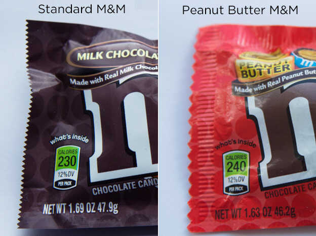 Standard M&Ms and Peanut Butter M&Ms