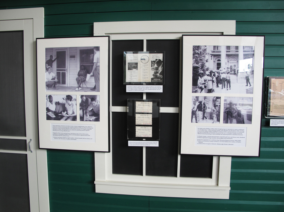 A new exhibit at the Mississippi state archives includes photographs, excerpts from journals and film clips documenting 1964's Freedom Summer. (Debbie Elliott/NPR)