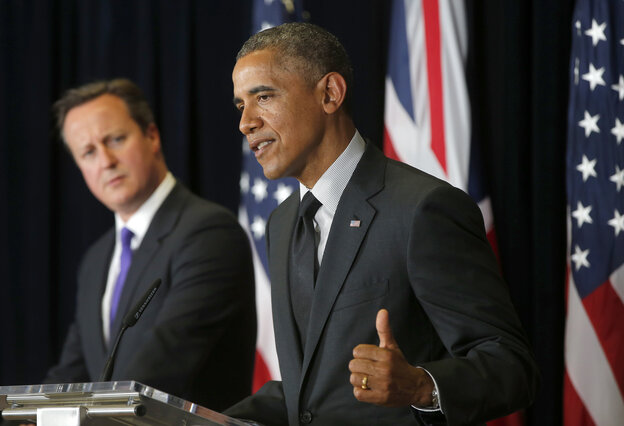 President Obama at the news conference in Brussels at which he was asked if he had second thoughts about how he and his aides handled the Bergdahl deal announcement. British Prime Minister David Cameron is in the background.