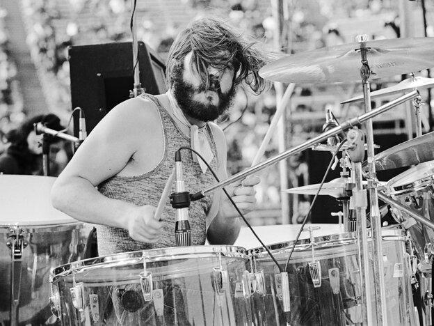 Led Zeppelin's John Bonham performs in San Francisco in 1973.
