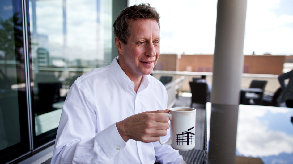 Uri Berliner drinking coffee at the NPR headquarters.