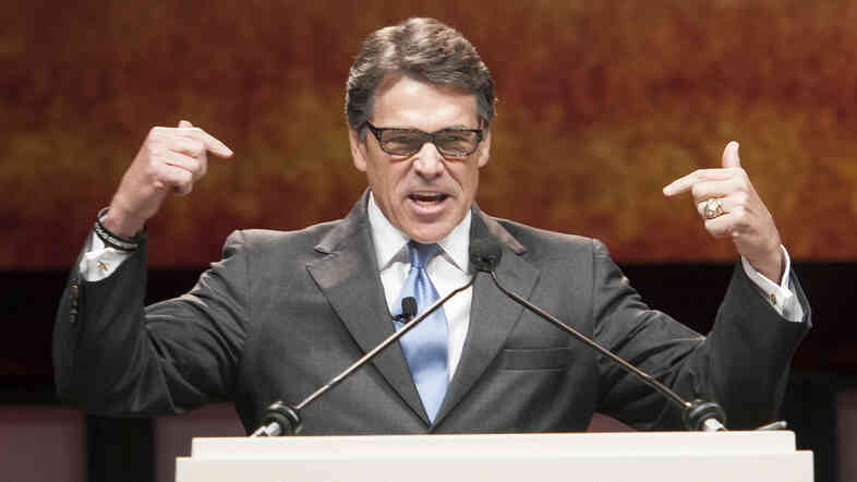 Gov. Rick Perry gives a speech during the Texas GOP Convention in Fort Worth on Thursday. In his address, the longest-serving governor in the state's history focused more on the future and national issues than his political legacy at home.