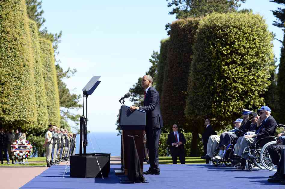 President Obama speaks during the joint French-American D-Day commemoration at the Normandy American Cemetery.