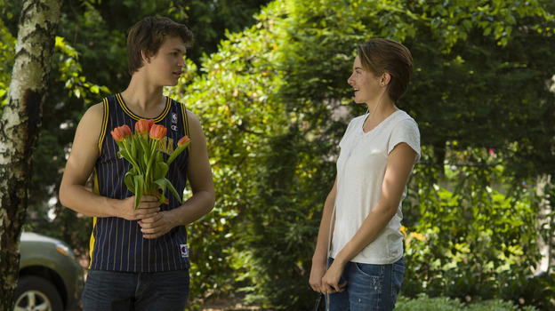 Ansel Elgort (Augustus) and Shailene Woodley (Hazel) star in The Fault in Our Stars, the film adaptation of John Green's bestselling young adult novel about two teens with cancer. (Twentieth Century Fox)