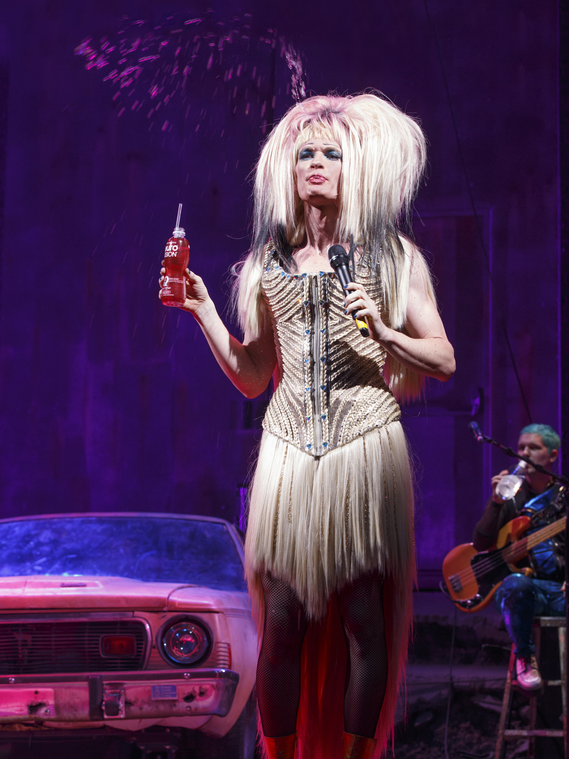 For the gender-bending musical Hedwig and the Angry Inch, wigmaker Mike Potter made eight wigs and used magnets so actor Neil Patrick Harris can change quickly on stage.