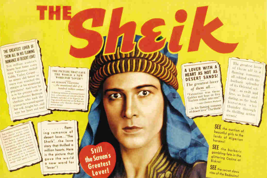 Rudolph Valentino on a poster for the movie The Sheik, 1921.