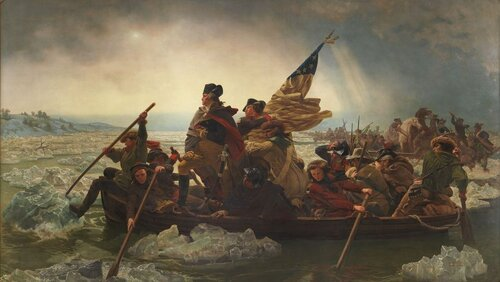 Worthington Whittredge was the model for George Washington in Emanuel Gottlieb Leutze's 1851 painting, Washington Crossing the Delaware. In an essay, Whittredge says he was chosen for the job because he was a good fit for the suit.