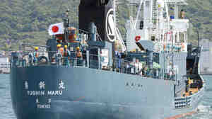 The Japanese whaling ship Yushin Maru leaves Shimonoseki port in Yamaguchi Prefecture, southwestern Japan, last month. Japan's prime minister says he wants to expand whaling operations after they were temporarily scaled back.