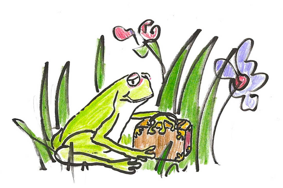 A frog with a suitcase.