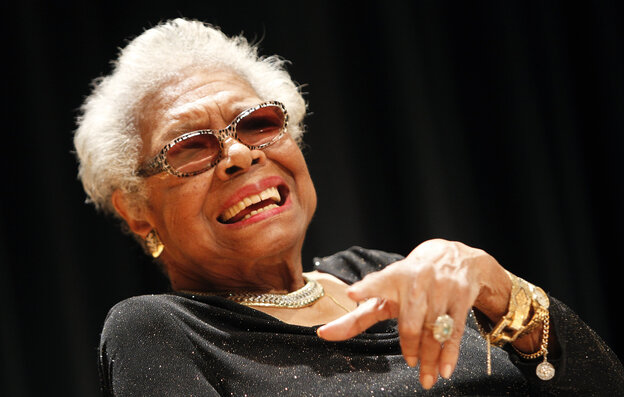 Maya Angelou answers questions in April during the unveiling of her portrait at the Smithsonian's National Portrait Gallery in Washington, D.C.
