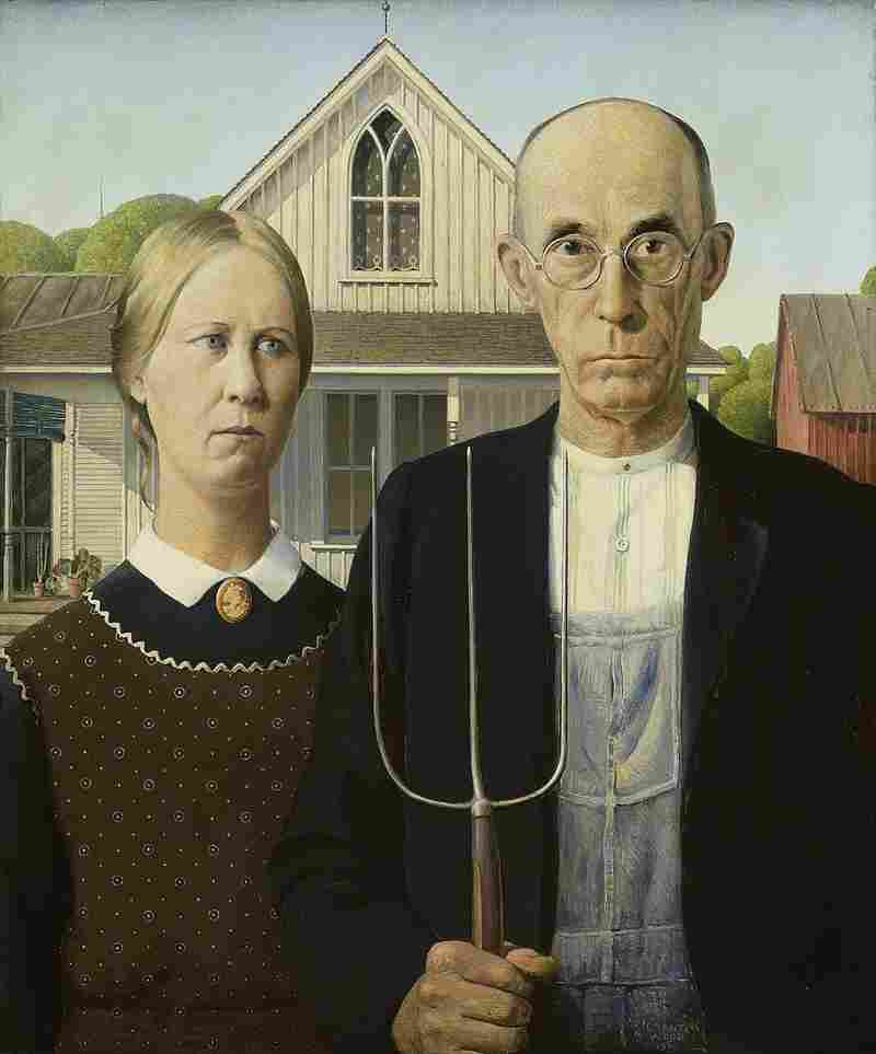 """In 1930, Grant Wood had his sister Nan pose for American Gothic. """"The public reaction to the painting was so rough on her that her brother Grant felt bad for her,"""" curator Elizabeth Botten says."""