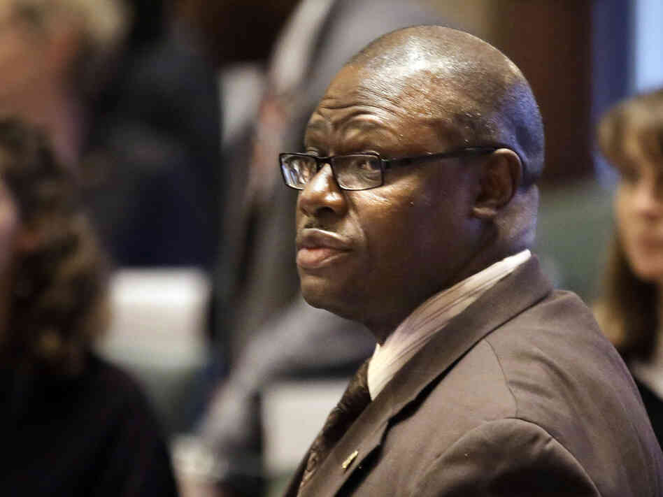 Illinois Rep. Derrick Smith, D-Chicago, at the state Capitol in Springfield last month. A jury is deliberating a verdict in Smith's trial on bribery charges.