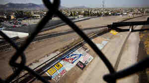 Maria Guadelupe Guereca Betancourt, a resident of Juarez, Mexico, lost her son Sergio, 15, when he was shot under the black bridge that spans the border from El Paso, Texas, to Juarez.