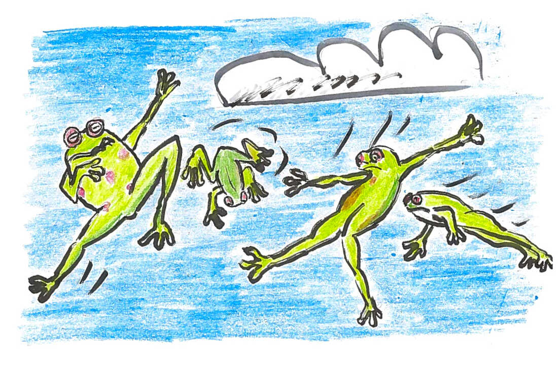 Frogs being blown into the sky by wind.