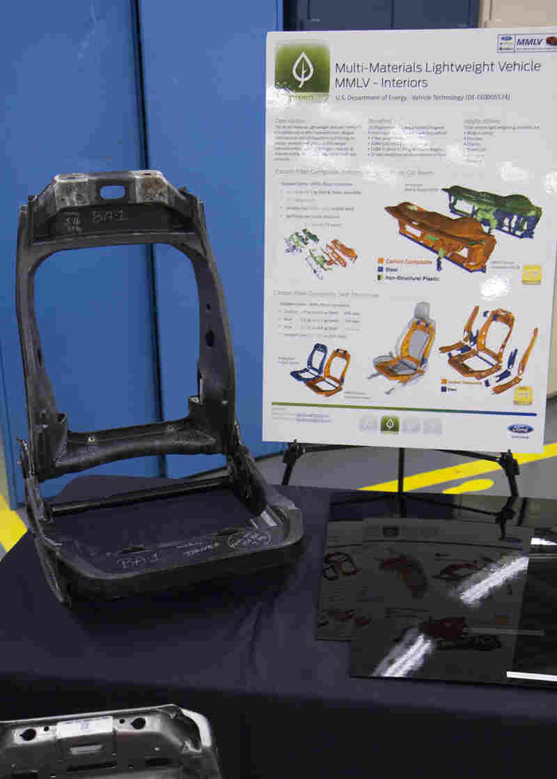 Ford says it was able to reduce the weight of interior components of the concept car, including this carbon fiber seat, by 35 percent.