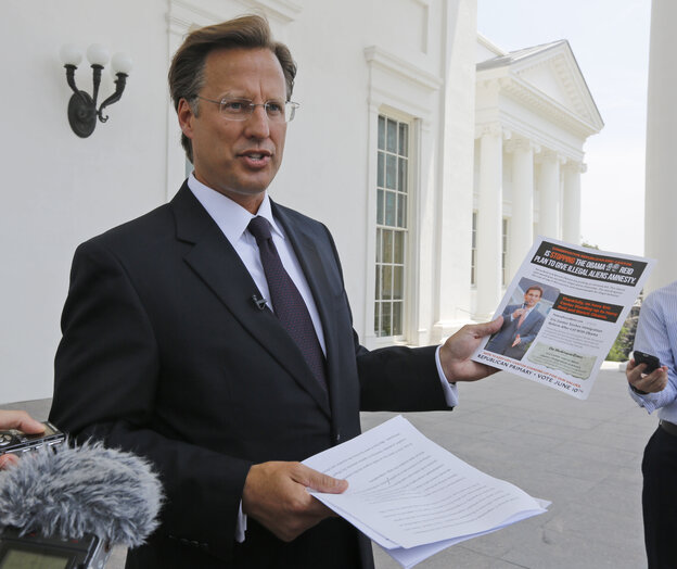 David Brat, who upset Virginia Rep. Eric Cantor in Tuesday's 7th Congressional District GOP primary, at a May 28 news conference at the Capitol in Richmond.