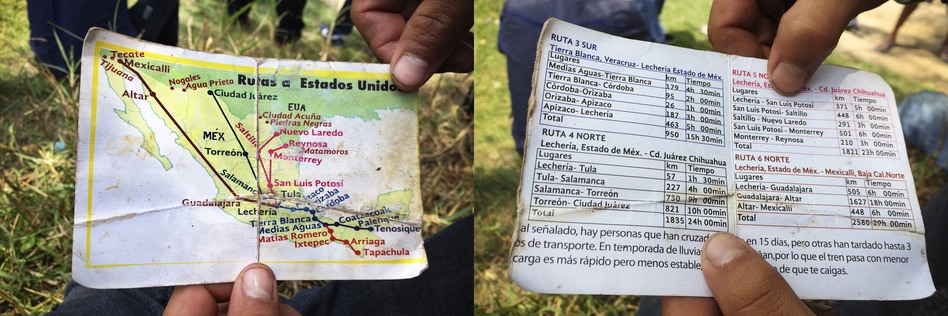 "A map guiding migrants toward the U.S.-Mexico border shows freight train schedules and routes. There are even notes to the travelers (right, bottom): ""In the rainy season the tracks get damaged and also the trains with less cargo go faster but they are less stable and that increases the dangers that you could fall off."""