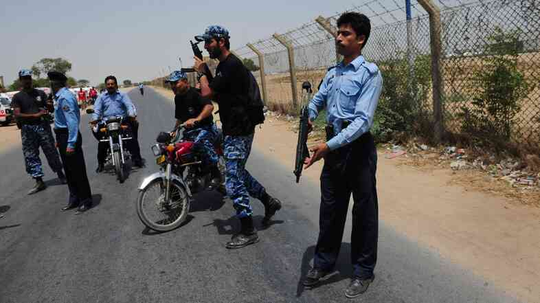 Pakistan Airport Security Force personnel were on alert Tuesday after shots were fired near a checkpoint in Karachi.