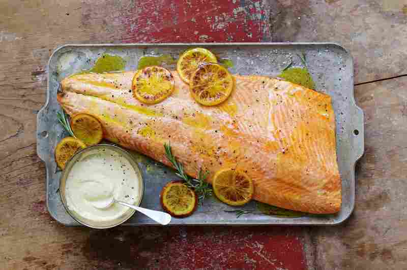 Roast Salmon with Citrus Ginger Aioli.