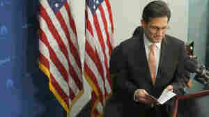 House Majority Leader Eric Cantor of Virginia takes the podium to speak to reporters on Capitol Hill in Washington, on Wednesday. He announced that he would step down as majority leader on July 31.