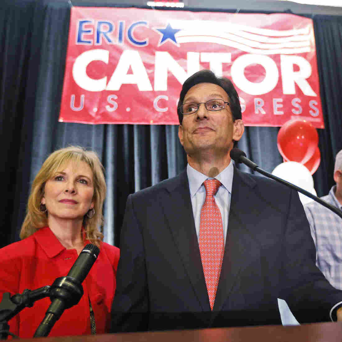 House Majority Leader Eric Cantor, R-Va., delivers his concession speech as his wife, Diana, listens in Richmond on Tuesday.