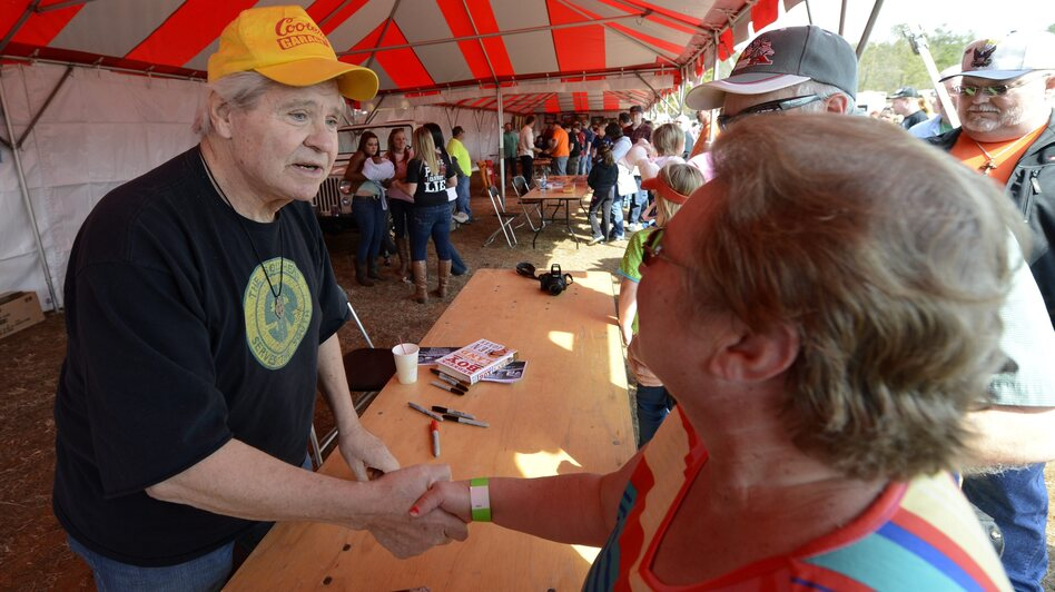 Former Rep. Ben Jones, a Democrat, wrote an open letter calling on voters to oust Eric Cantor in the Republicans' open primary — an event that transpired Tuesday. A former actor, Jones played the role of Cooter on TV show <em>The Dukes of Hazzard</em>. He's seen here meeting a fan last year.