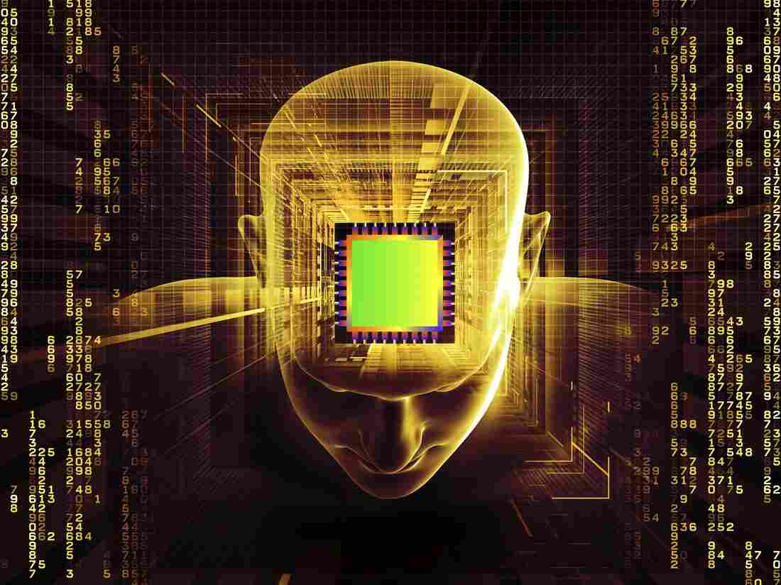 Collage illustration of a human head, computer chip, digits and various abstract elements.