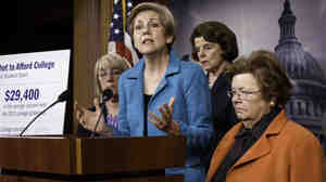 """Who does Washington work for?"" asked Sen. Elizabeth Warren, D-Mas"
