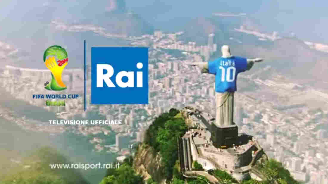A video image from an advertisement run by Italian state broadcaster RAI showing Christ the Redeemer in an Italian soccer jersey.